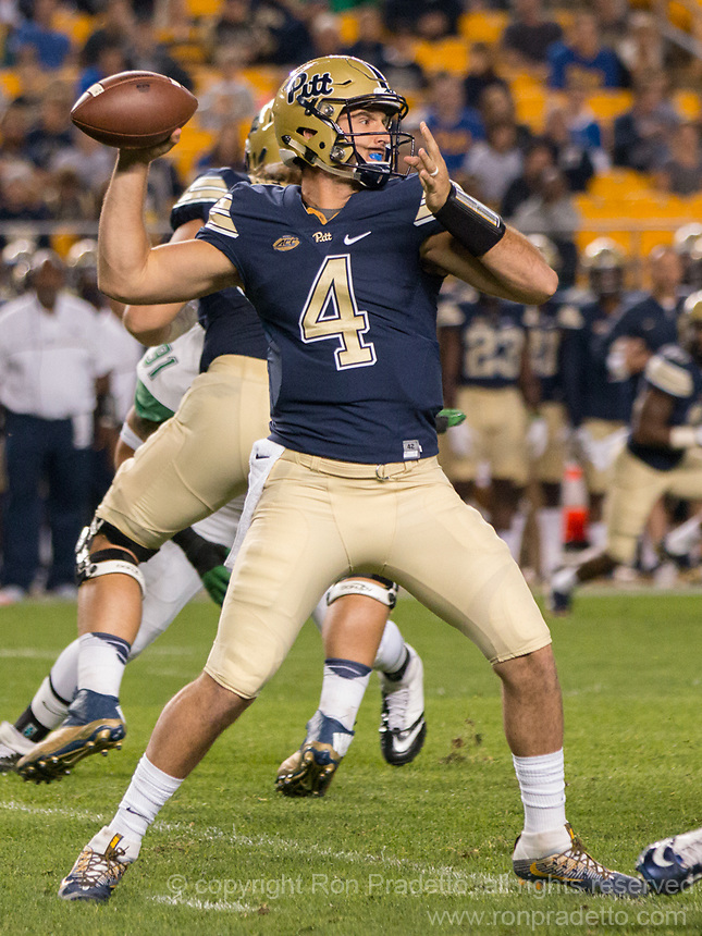 Pitt quarterback Nathan Peterman The Pitt Panthers defeated the Marshall Thundering Herd 43-27 on October 1, 2016 at Heinz Field in Pittsburgh, Pennsylvania.