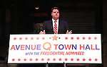 "Moderator Nick Kohn attends the ""Avenue Q"" Hosts Town Hall With A Debate Between Puppets Hillary Clinton, ""I'm with Fur"" played by Maggie Lakis & Donald Trump, ""Make Puppets Great Again"" played by Rob McClure at the New World Stages on September 26, 2016 in New York City."