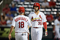 Springfield Cardinals second baseman Dickie Joe Thon (35) and manager Johnny Rodriguez (18) during a game against the Corpus Christi Hooks on May 30, 2017 at Hammons Field in Springfield, Missouri.  Springfield defeated Corpus Christi 4-3.  (Mike Janes/Four Seam Images)