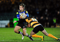 Max Clark of Bath United is tackled by James Downey of Wasps A. Aviva A-League match, between Bath United and Wasps A on December 28, 2016 at the Recreation Ground in Bath, England. Photo by: Patrick Khachfe / Onside Images