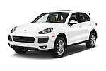 2016 Porsche Cayenne Diesel 5 Door SUV Angular Front stock photos of front three quarter view