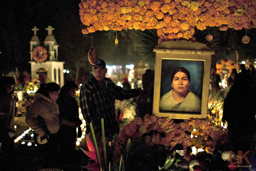 People gather to see the decoration at the crematory in Tzintzuntzan, Mexico