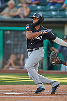 Aderlin Rodriguez (46) of the El Paso Chihuahuas at bat against the Salt Lake Bees at Smith's Ballpark on August 17, 2019 in Salt Lake City, Utah. The Bees defeated the Chihuahuas 5-4. (Stephen Smith/Four Seam Images)