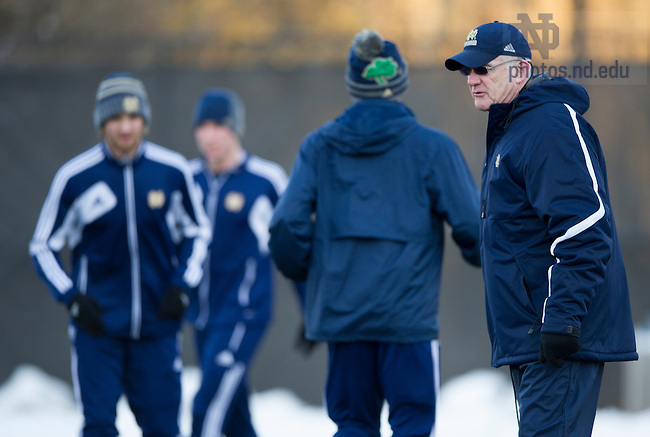 Dec 12, 2013; The Notre Dame men's soccer team practice at soccer training facility in Wayne, Pa. Notre Dame plays against New Mexico in the semifinals of the NCAA Championship tomorrow night. This season marks the program's first appearance in the College Cup.  Photo by Barbara Johnston/University Photographer