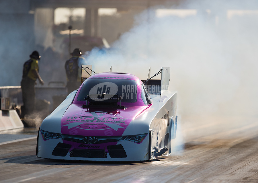 Oct 14, 2016; Ennis, TX, USA; NHRA funny car driver Cruz Pedregon during qualifying for the Fall Nationals at Texas Motorplex. Mandatory Credit: Mark J. Rebilas-USA TODAY Sports