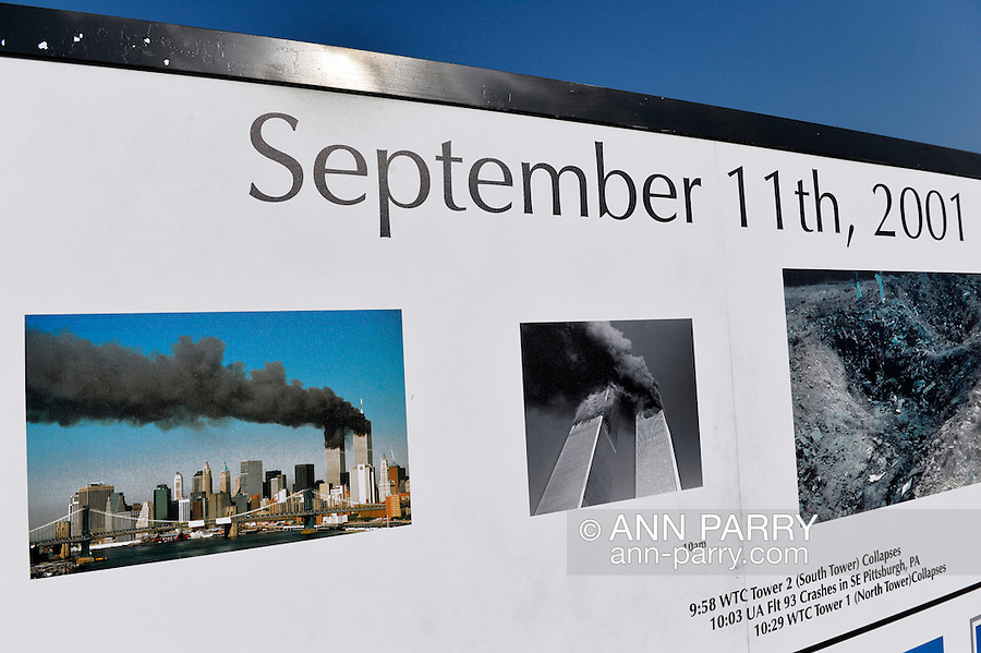 """East Meadow, New York, U.S. 11th September 2013. The Global War on Terror """"Wall of Remembrance"""" a traveling memorial on display in New York for the first time, is at Eisenhower Park on the 12th Anniversary of the terrorist attacks of 9/11. The unique 94 feet long by 6 feet high wall has, on one side, almost 11,000 names of those lost on September 11th 2001, along with heroes and veterans who lost their lives defending freedom of Americans over past 30 years. On the wall's other side is a timeline, with photos, covering 1983 to present day."""