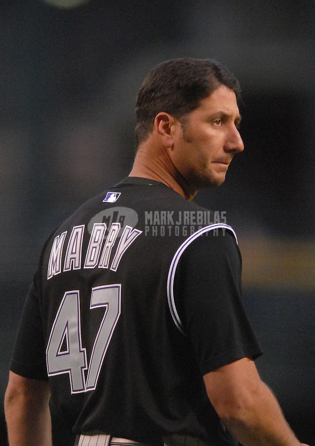 Apr 13, 2007; Phoenix, AZ, USA; Colorado Rockies third baseman (47) John Mabry against the Arizona Diamondbacks at Chase Field in Phoenix, AZ. Mandatory Credit: Mark J. Rebilas