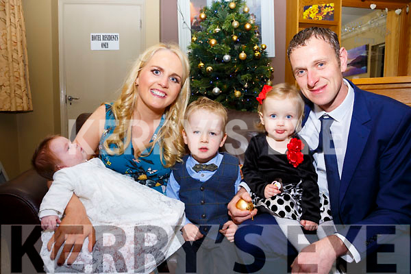Baby Clara Grace O'Shea from Teeromoyle was christened in the O'Connell Memorial Church in Cahersiveen on Saturday evening pictured here in the Kerry Coast Hotel with proud parents Noreen & Dan, big brother Conor & sister Chloe May.