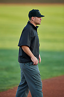 3B umpire Phil Bando calls the bases at Home of the Owlz on September 11, 2017 in Orem, Utah. The Ogden Raptors played the Orem Owlz for the south division title. Ogden defeated Orem 7-3 to win the South Division Championship. (Stephen Smith/Four Seam Images)