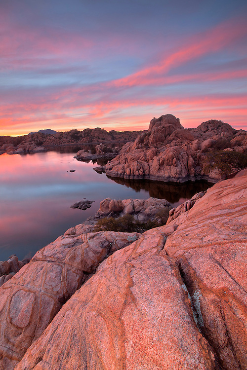 Colorful sunset at Watson Lake near Prescott, Arizona