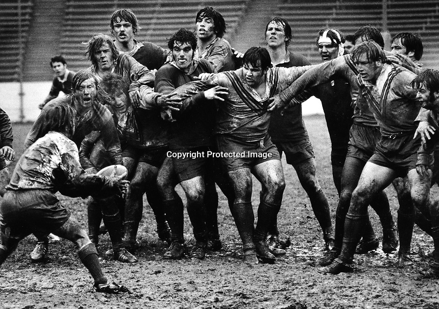 University of California vs. UCLA rugby match in the rain and mud in Berkeley, Ca (1972 photo by Ron Riesterer)