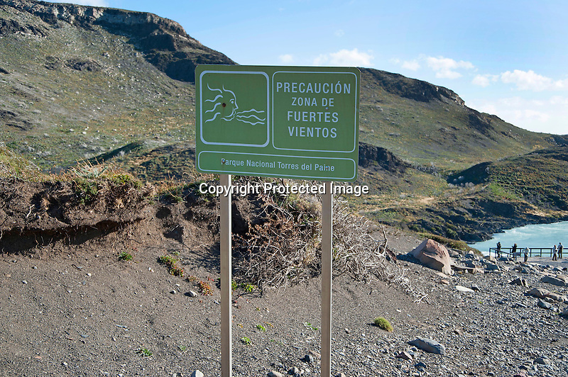 Sign Warning of Strong Winds in Torres del Paine National Park in Patagonia Chile