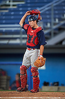 Lowell Spinners catcher Austin Rei (29) during a game against the Batavia Muckdogs on August 12, 2015 at Dwyer Stadium in Batavia, New York.  Batavia defeated Lowell 6-4.  (Mike Janes/Four Seam Images)