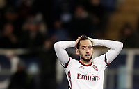 Football Soccer: Tim Cup semi-final second Leg, SS Lazio vs AC Milan, Stadio Olimpico, Rome, Italy, February 28, 2018.<br /> Milan's Hakan Calhanoglu reacts during the Tim Cup semi-final football match between SS Lazio vs AC Milan, at Rome's Olympic stadium, February 28, 2018.<br /> <br /> UPDATE IMAGES PRESS/Isabella Bonotto