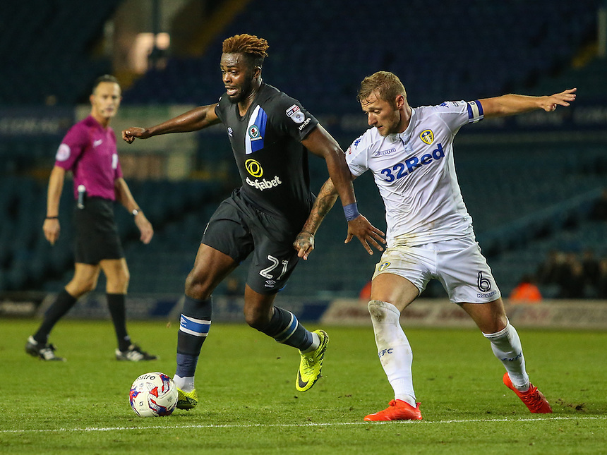 Blackburn Rovers' Hope Akpan tries to get away from Leeds United's Liam Cooper<br /> <br /> Photographer Alex Dodd/CameraSport<br /> <br /> The EFL Cup Third Round - Leeds United v Blackburn Rovers - Tuesday 20 September 2016 - Elland Road - Leeds<br />  <br /> World Copyright &copy; 2016 CameraSport. All rights reserved. 43 Linden Ave. Countesthorpe. Leicester. England. LE8 5PG - Tel: +44 (0) 116 277 4147 - admin@camerasport.com - www.camerasport.com