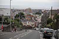 Pictured: The empty Mount Pleasant Road in Swansea, which is usually busy with traffic during rush hour Wednesday 06 July 2016<br />