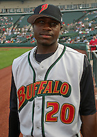 August 6, 2003:  Brandon Phillips of the Buffalo Bisons, Class-AAA affiliate of the Cleveland Indians, during a International League game at Frontier Field in Rochester, NY.  Photo by:  Mike Janes/Four Seam Images