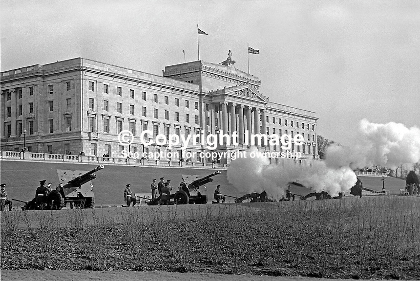 The anniversary of the accession of Queen Elizabeth II is marked by a 21 gun salute at Parliament Buildings, Stormont, Belfast, N Ireland, 6th February 1974. 197402060058f<br /> <br /> Copyright Image from Victor Patterson, 54 Dorchester Park, Belfast, UK, BT9 6RJ<br /> <br /> Tel: +44 28 9066 1296<br /> Mob: +44 7802 353836<br /> Voicemail +44 20 8816 7153<br /> Skype: victorpattersonbelfast<br /> Email: victor@victorpatterson.com<br /> Email: victorpatterson@me.com (back-up)<br /> <br /> IMPORTANT: If you wish to use this image or any other of my images please go to www.victorpatterson.com and click on the Terms &amp; Conditions. Then contact me by email or phone with the reference number(s) of the image(s) concerned.