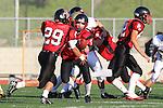 Palos Verdes, CA 11/10/10 - Matt Lopes(Palos Verdes # 29) and Bryan Scott (Palos Verdes # 7) in action during the junior varsity football game between Peninsula and Palos Verdes at Palos Verdes High School.