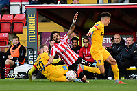 Lincoln City's Bruno Andrade is fouled by Northampton Town's Kevin van Veen<br /> <br /> Photographer Chris Vaughan/CameraSport<br /> <br /> Emirates FA Cup First Round - Lincoln City v Northampton Town - Saturday 10th November 2018 - Sincil Bank - Lincoln<br />  <br /> World Copyright &copy; 2018 CameraSport. All rights reserved. 43 Linden Ave. Countesthorpe. Leicester. England. LE8 5PG - Tel: +44 (0) 116 277 4147 - admin@camerasport.com - www.camerasport.com