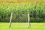 Soccer net and corn field.