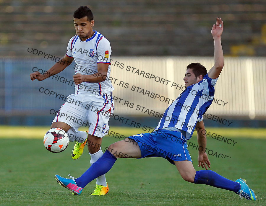 Fudbal Super liga season 2013-2014<br /> Ofk Beograd v Jagodina<br /> Mohamed El Monir (L) and Aleksandar Jesic<br /> Beograd, 09.11.2013.<br /> foto: Srdjan Stevanovic/Starsportphoto &copy;