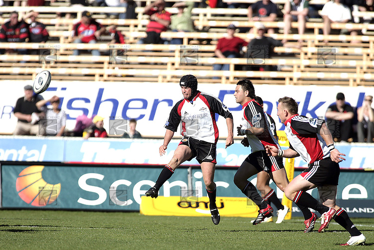 Blair Fenney chips the ball ahead for his fellow backs to chase during the Ranfurly Shield challenge against Canterbury at Jade Stadium on the 10th of September 2006. Canterbury won 32 - 16.