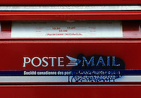 Montreal (Qc) CANADA, File Photo -<br /> <br /> Canada Post Mail box with anti anglophone graffiti<br /> <br /> <br /> photo (c) Pierre Roussel -  Images Distribution