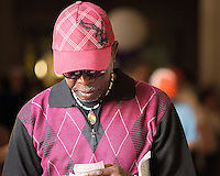 HALLANDALE BEACH, FL - FEBRUARY 04: Horse racing fan checking his picks. Scenes from Gulfstream Park, at Gulfstream Park, Hallandale Beach, FL. (Photo by Arron Haggart/Eclipse Sportswire/Getty Images)