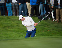 27.09.2014. Gleneagles, Auchterarder, Perthshire, Scotland.  The Ryder Cup.  Martin Kaymer (EUR) chips out of the bunker on the 17th during Saturday Foursomes.
