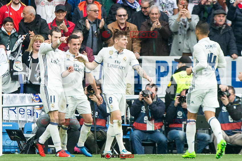 Garet Bale of Real Madrid celebrates after scoring a goal during the match of La Liga between Real Madrid and RCE Espanyol at Santiago Bernabeu  Stadium  in Madrid , Spain. February 18, 2016. (ALTERPHOTOS/Rodrigo Jimenez) /Nortephoto.com