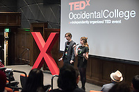 Oxy students Nikolai Birch '18 and Josephine Pesce '18 host.<br />