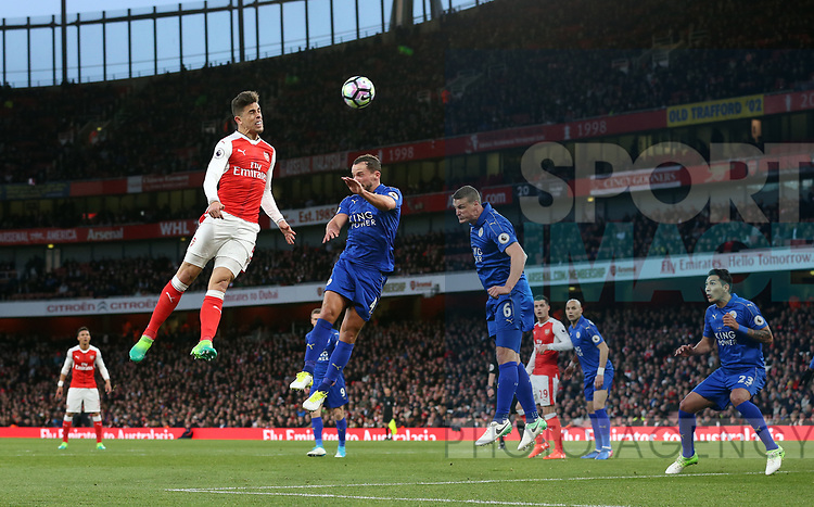 Arsenal's Gabriel fires in a header during the Premier League match at the Emirates Stadium, London. Picture date: April 26th, 2017. Pic credit should read: David Klein/Sportimage