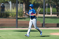 Los Angeles Dodgers infielder Devin Mann (80) returns to the dugout after hitting a home run during an Instructional League game against the Oakland Athletics at Camelback Ranch on September 27, 2018 in Glendale, Arizona. (Zachary Lucy/Four Seam Images)