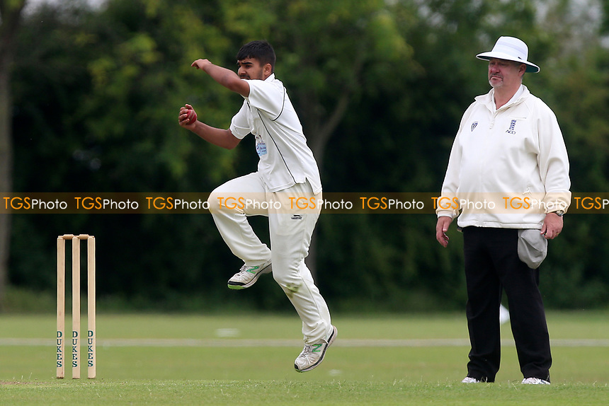 A Kumar in bowling action for Gidea Park during Gidea Park and Romford CC vs Harold Wood CC, Shepherd Neame Essex League Cricket at Gidea Park Sports Ground on 1st July 2017