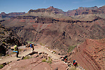 Hikers on the South Kaibab Trail descending the Tonto Plateau in Grand Canyon National Park, northern Arizona. .  John leads hiking and photo tours throughout Colorado. . John offers private photo tours in Grand Canyon National Park and throughout Arizona, Utah and Colorado. Year-round.