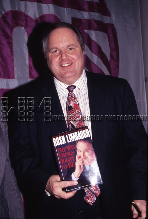 """Rush Limbaugh promoting """"The Way Things Ought To Be"""" on January 12, 1993 in New York City."""