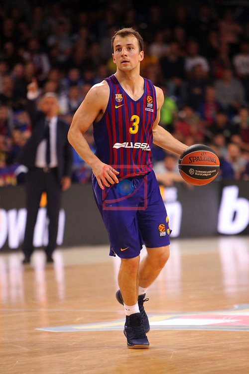 Turkish Airlines Euroleague 2018/2019. <br /> Regular Season-Round 24.<br /> FC Barcelona Lassa vs R. Madrid: 77-70. <br /> Kevin Pangos.