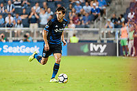 Kansas City, KS - Wednesday August 9, 2017: Shea Salinas during a Lamar Hunt U.S. Open Cup Semifinal match between Sporting Kansas City and the San Jose Earthquakes at Children's Mercy Park.