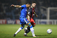 Gillingham's Bradley Garmston and Blackburn Rovers' Adam Armstrong<br /> <br /> Photographer Rachel Holborn/CameraSport<br /> <br /> The EFL Sky Bet League One - Gillingham v Blackburn Rovers - Tuesday 10th April 2018 - Priestfield Stadium - Gillingham<br /> <br /> World Copyright &copy; 2018 CameraSport. All rights reserved. 43 Linden Ave. Countesthorpe. Leicester. England. LE8 5PG - Tel: +44 (0) 116 277 4147 - admin@camerasport.com - www.camerasport.com