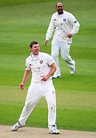 PICTURE BY VAUGHN RIDLEY/SWPIX.COM - Cricket - County Championship Div 2 - Yorkshire v Kent, Day 3 - Headingley, Leeds, England - 07/04/12 - Kent's Mat Coles celebrates the wicket of Yorkshire's Joe Root.