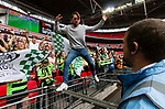Tranmere Rovers 1 Forest Green Rovers 3, 14/05/2017. Wembley Stadium, Conference play off Final. A Forest Green fan goads stewards during the Vanarama Conference play off Final  between Tranmere Rovers v Forest Green Rovers at the Wembley. Photo by Paul Thompson.