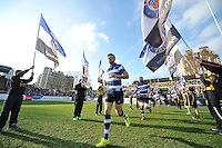 Rhys Priestland and the rest of the Bath Rugby team run out onto the field. Aviva Premiership match, between Bath Rugby and Harlequins on February 18, 2017 at the Recreation Ground in Bath, England. Photo by: Patrick Khachfe / Onside Images
