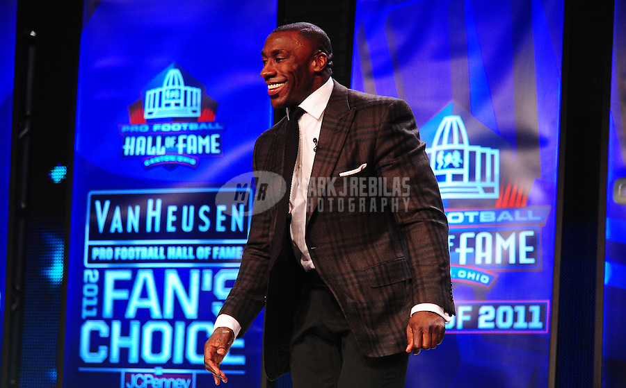 February 5, 2011; Dallas, TX, USA; Shannon Sharpe smiles during a press conference after being named into the NFL Hall of Fame class of 2011 at the Super Bowl XLV media center. Mandatory Credit: Mark J. Rebilas-