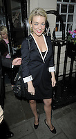 """SHERIDAN SMITH .Departed after the first preview performance of """"Flare Path"""", Haymarket, London, England, UK, 4th March 2011..full length black dress white sleeves trim shoes coat  jacket blazer dress .CAP/CAN.©Can Nguyen/Capital Pictures."""