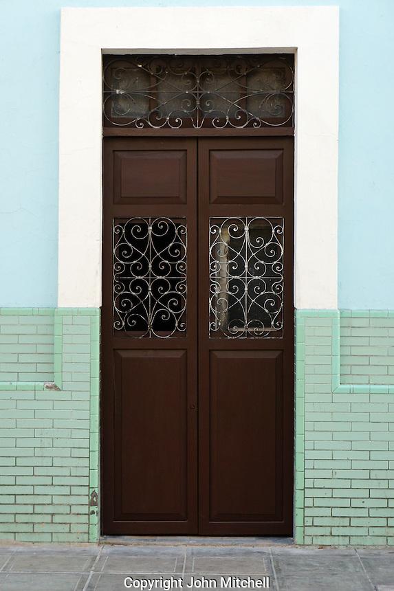Door of a Spanish colonial house in Merida, Yucatan, Mexico.