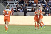 Houston, TX - Saturday Sept. 03, 2016: Rebecca Moros, Kealia Ohai celebrates scoring during a regular season National Women's Soccer League (NWSL) match between the Houston Dash and the Orlando Pride at BBVA Compass Stadium.