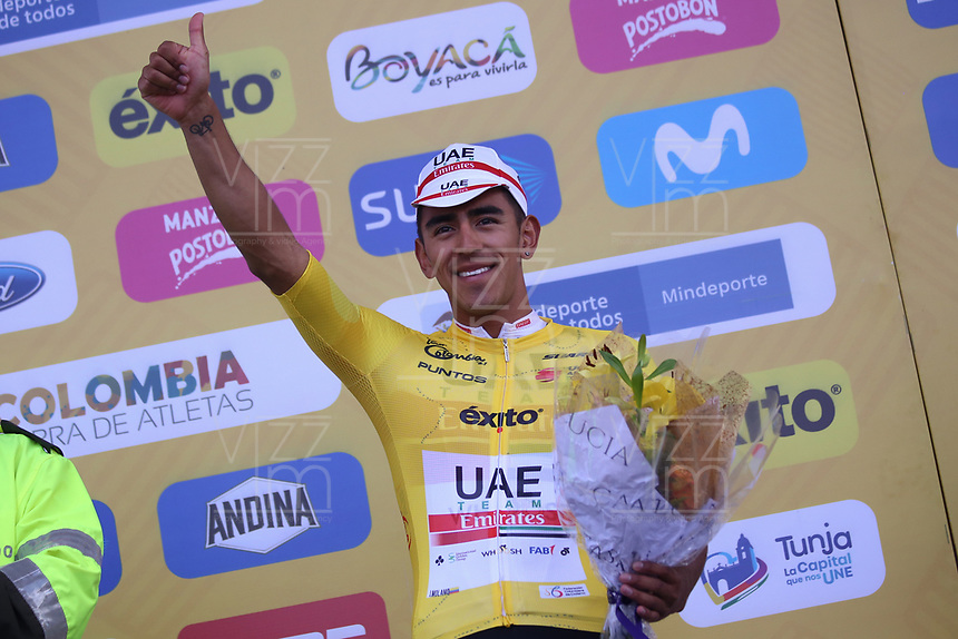 TUNJA - COLOMBIA, 13-02-2020: Juan Sebastian Molano Benavides (COL) UAE TEAM EMIRATES, gana la tercera etapa del Tour Colombia 2.1 2020 con un recorrido de 177,7 km que se corrió entre Paipa y Sogamoso, Boyacá. /  Juan Sebastian Molano Benavides (COL) UAE TEAM EMIRATES wins the third stage of 177,7 km as part of Tour Colombia 2.1 2020 that ran between Paipa and Sogamoso, Boyaca.  Photo: VizzorImage / Darlin Bejarano / Cont
