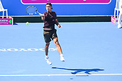11th January 2018,  Kooyong Lawn Tennis Club, Kooyong, Melbourne, Australia; Priceline Pharmacy Kooyong Classic tennis tournament; Jason Kubler of Australia returns the ball to Yoshihito Nishioka of Japan