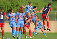 Boyds, MD - Saturday July 09, 2016: Alyssa Mautz, Danielle Colaprico during a regular season National Women's Soccer League (NWSL) match between the Washington Spirit and the Chicago Red Stars at Maureen Hendricks Field, Maryland SoccerPlex.